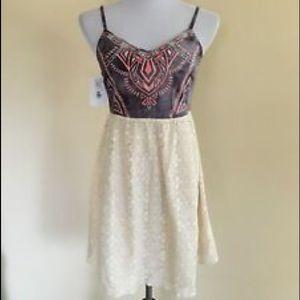 Boutique Denim embroidered lace dress size Large